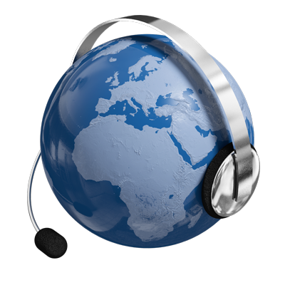 A globe with a headset